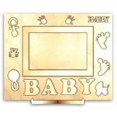 """Рамка-панно """"BABY"""" деревянная для фото с подставкой и элементами для декора, 26х20 см, арт. 13999"""