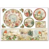 """Бумага рисовая для декупажа Stamperia DFS281 """"Часы, цветы и поэзия"""", 48х33 см"""