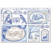 """Бумага рисовая для декупажа Stamperia DFS294 """"Синие открытки с зимними пейзажами"""", 48х33 см"""
