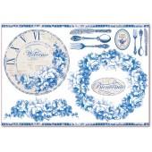 """Бумага рисовая для декупажа Stamperia DFS295 """"Синие розы, циферблат и столовые приборы"""", 48х33 см"""