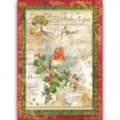"""Бумага рисовая для декупажа Stamperia DFSA4037 """"Рождественские цветы и стихи"""", А4"""